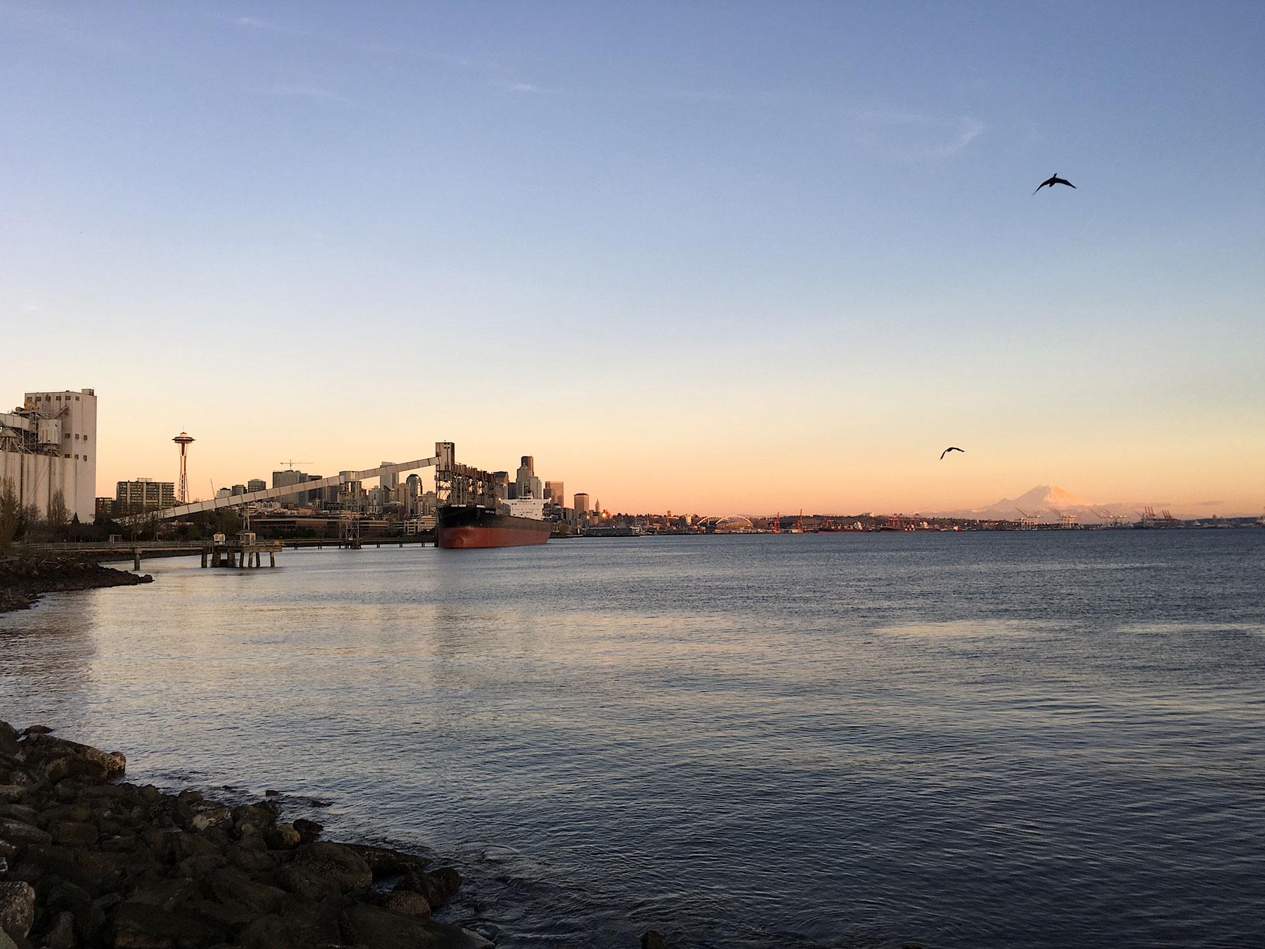 Seattlen satama ja Mount Rainier auringonlaskussa. © Alex Kampion/tripsteri.fi