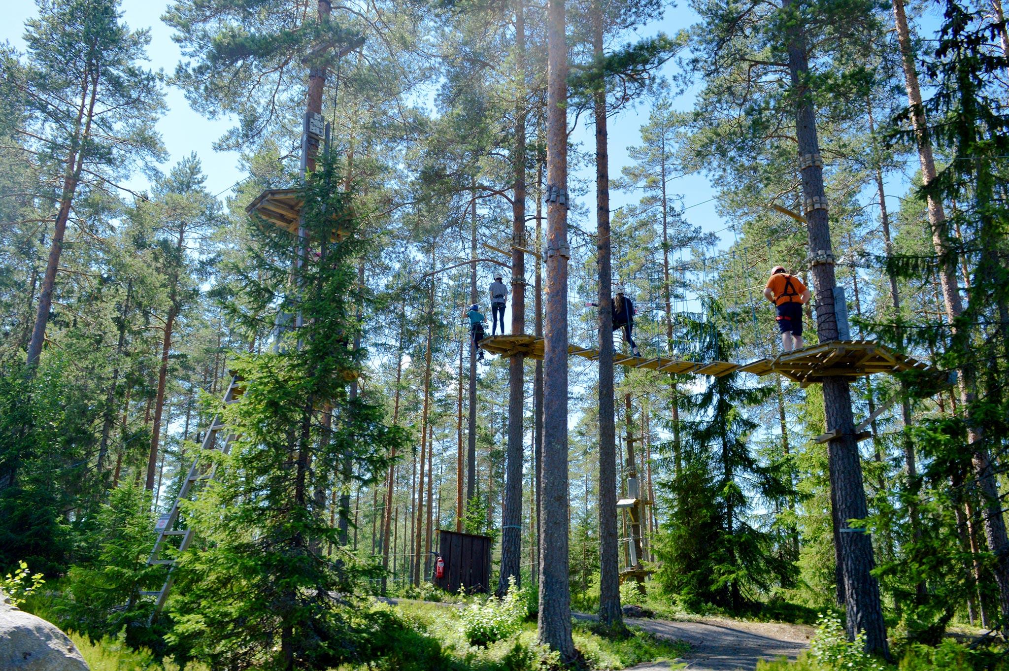 Köysiseikkailupuisto on rakennettu metsän keskelle.